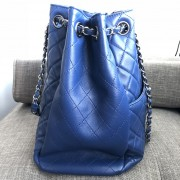 Chanel Classic CC Lock Drawstring Blue Quilted Lamb Bucket Bag Lust4Labels 3
