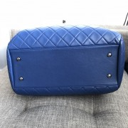 Chanel Classic CC Lock Drawstring Blue Quilted Lamb Bucket Bag Lust4Labels 5