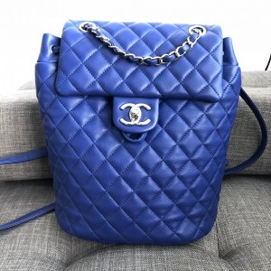 Chanel Classic Royal Blue Quilted Lamb Leather Urban Spirit Backpack Bag Lust4Labels 1
