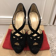 Christian Louboutin Black Suede Lady Peep Corset 150 Pumps SZ 35 Lust4Labels 1