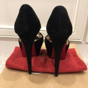 Christian Louboutin Black Suede Lady Peep Corset 150 Pumps SZ 35 Lust4Labels 3