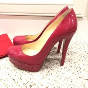 Christian Louboutin Pink Patent Leather Bianca 140 Pumps SZ 35.5 Lust4Labels 2