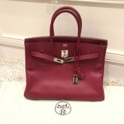 Hermes Paris Classic Rubis Raspberry Red Epsom Leather Birkin 35 Lust4Labels 1