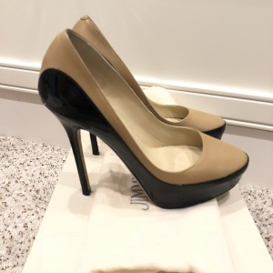 Jimmy Choo Nude Beige Black Contrast Cosmic Pumps SZ 35 Lust4Labels 4