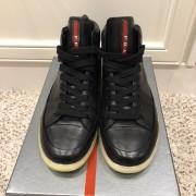 Prada Mens Black Leather High Top Sneakers SZ 38.5 Lust4Labels 1