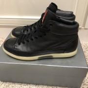 Prada Mens Black Leather High Top Sneakers SZ 38.5 Lust4Labels 2