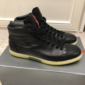 Prada Mens Black Leather High Top Sneakers SZ 38.5 Lust4Labels 4