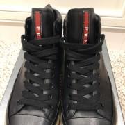 Prada Mens Black Leather High Top Sneakers SZ 38.5 Lust4Labels 5
