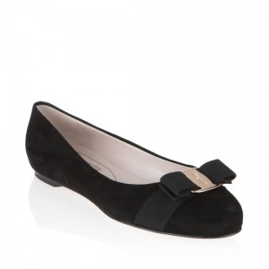 Salvatore-Ferragamo-Black-Suede-Varina-Flat-Shoes