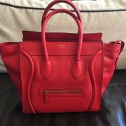 Celine Classic Red Leather Mini Luggage Tote Lust4Labels 6