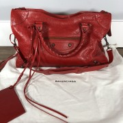 Balenciaga Classic Lipstick Red Lamb Leather City Bag Purse Lust4Labels 1