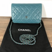 Chanel Classic Green Teal Turquoise Quilted Lamb Leather Wallet on Chain WOC Bag SHW Lust4Labels 1