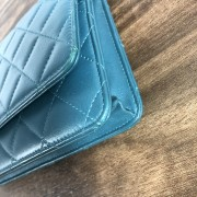 Chanel Classic Green Teal Turquoise Quilted Lamb Leather Wallet on Chain WOC Bag SHW Lust4Labels 12