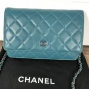 Chanel Classic Green Teal Turquoise Quilted Lamb Leather Wallet on Chain WOC Bag SHW Lust4Labels 2