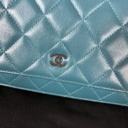 Chanel Classic Green Teal Turquoise Quilted Lamb Leather Wallet on Chain WOC Bag SHW Lust4Labels 3