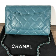 Chanel Classic Green Teal Turquoise Quilted Lamb Leather Wallet on Chain WOC Bag SHW Lust4Labels 4