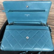 Chanel Classic Green Teal Turquoise Quilted Lamb Leather Wallet on Chain WOC Bag SHW Lust4Labels 6