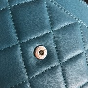 Chanel Classic Green Teal Turquoise Quilted Lamb Leather Wallet on Chain WOC Bag SHW Lust4Labels 9