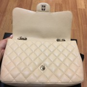 Chanel Classic Jumbo Beige Caviar Leather Shoulder Bag Purse SHW Lust4Labels 10