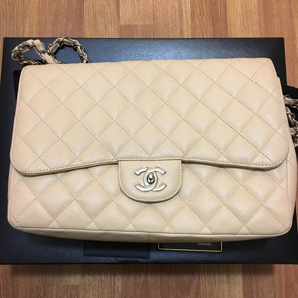 d3daf6a2fb92 $7500 Chanel Classic Jumbo Beige Nude Caviar Quilted Leather Single ...