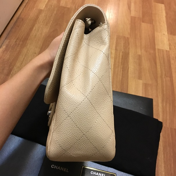 bec1cf3c0a5de8 $7500 Chanel Classic Jumbo Beige Nude Caviar Quilted Leather Single ...