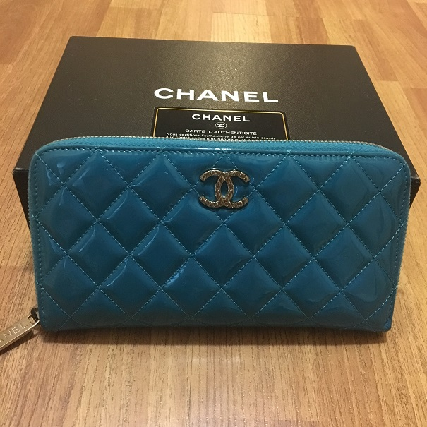 7c453f9733c0 Chanel Classic Quilted Turquoise Patent Blue Zippy Continental Wallet  Lust4Labels 2 lightbox · lightbox