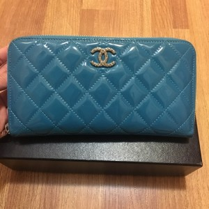 Chanel Classic Quilted Turquoise Patent Blue Zippy Continental Wallet Lust4Labels 2