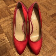 Charlotte Olympia Red Pink Satin Masako Dolly Pumps SZ 37.5 Lust4Labels 1
