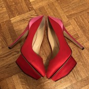 Charlotte Olympia Red Pink Satin Masako Dolly Pumps SZ 37.5 Lust4Labels 2