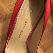 Charlotte Olympia Red Pink Satin Masako Dolly Pumps SZ 37.5 Lust4Labels 4
