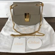 Chloe Drew Motty Grey Leather Small Shoulder Bag GHW Lust4Labels 3