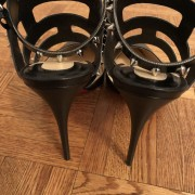 Christian Louboutin Black Tchicaboum 100 Stud Spike Strappy Heels SZ 37.5 Lust4Labels 3