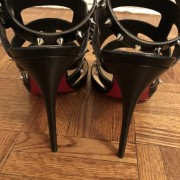Christian Louboutin Black Tchicaboum 100 Stud Spike Strappy Heels SZ 37.5 Lust4Labels 6