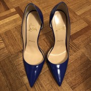 Christian Louboutin Blue Patent Leather Iriza 120 D orsay Pumps SZ 38 Lust4Labels 1