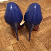 Christian Louboutin Blue Patent Leather Iriza 120 D orsay Pumps SZ 38 Lust4Labels 3
