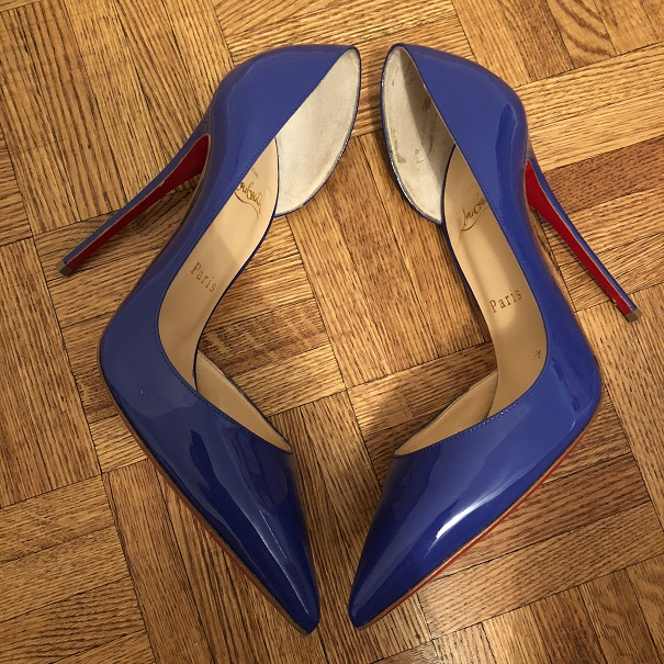 6dc4aeee917 $1000 Christian Louboutin Blue Patent Leather Iriza Half D'orsay 120 Pumps  SZ 38