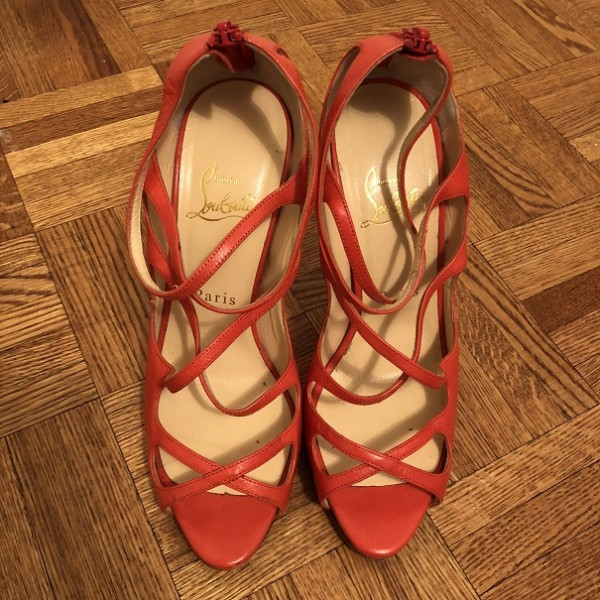 Christian Louboutin Coral Strappy Leather Heels Sandals SZ 37.5 Lust4Labels 1