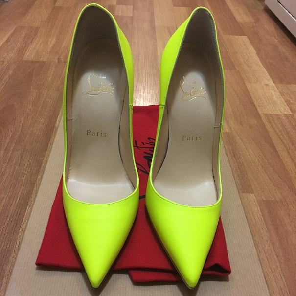 c99c5a4c696 $800 Christian Louboutin Yellow White Neon Leather So Kate Pumps ...