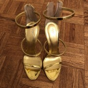 Giuseppe Zanotti Gold Metallic Three Strap Coline Heels Sandals SZ 37.5 Lust4Labels 1