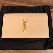 Yves Saint Laurent Nude Beige Leather Small Kate Clutch Bag GHW Lust4Labels 1
