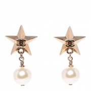 Chanel Classic CC Logo Gold Star Pearl Stud Earrings Lust4Labels 8