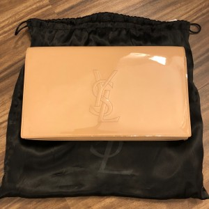 Yves Saint Laurent YSL Logo Nude Beige Patent Leather Belle Du Jour Clutch Bag Purse Lust4Labels 1