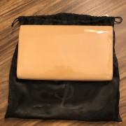 Yves Saint Laurent YSL Logo Nude Beige Patent Leather Belle Du Jour Clutch Bag Purse Lust4Labels 2