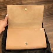 Yves Saint Laurent YSL Logo Nude Beige Patent Leather Belle Du Jour Clutch Bag Purse Lust4Labels 4