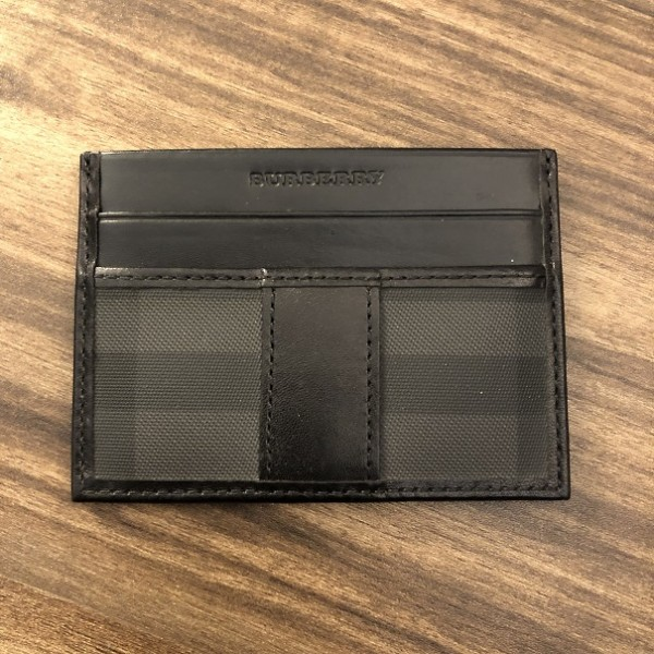 Burberry Classic Black Grey Coated Canvas Leather Novacheck Cardholder Wallet Lust4Labels 1
