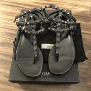 Valentino Black Leather Rockstud Gladiator Sandals SZ 37 Lust4Labels 1