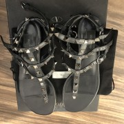 Valentino Black Leather Rockstud Gladiator Sandals SZ 37 Lust4Labels 3