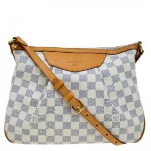Louis Vuitton Damier Azur Canvas Leather Siracusa PM Shoulder Bag Lust4Labels