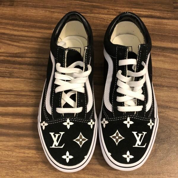 Custom Classic Vans Black Old Skool LV print SZ 7 Womens Lust4Labels 1