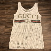 Gucci Classic GG Vintage Logo Mesh White Tank Top XS Lust4Labels 1